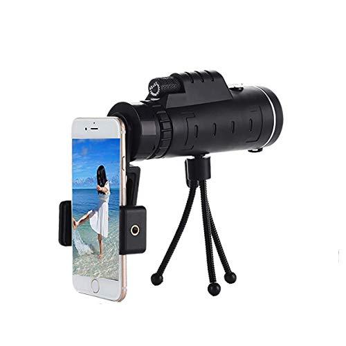 Telescopio monocular 40X60 Telescopio monocular para telfono celular con soporte para telfono inteligente y trpode para observacin de aves, camping, senderismo, viajes, vida silvestre, Secener, h