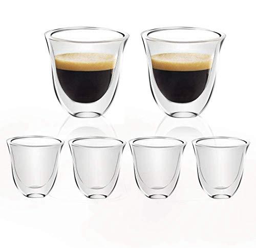 [6-Pack,60ml/2.1oz] Design•Master-Hochwertige Espressotassen aus Glas, doppelwandiges Isolierglas, thermoisoliertes Glas, perfekt für Espressomaschine.