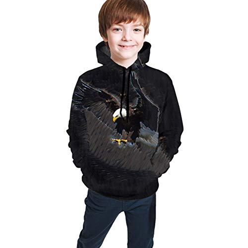 Eagle Sweatshirts for Girls Boys Soft Teens Hoodies Plus Velvet Hoody Hooded Sweate Tops with Pockets