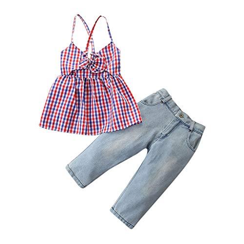 Moneycom❤Toddler Kids Baby Girls Fashion Plaid Vest Tops + Denim Pants Clothes Outfits Set Violet(5-6 Ans)