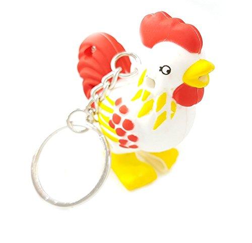 Familienkalender Hahn Schlüsselanhänger Figur mit LED und Sound (Kikiriki) Huhn   Küken   Ei   Henne   Spielzeug mit Ton   Geschenk   Kind