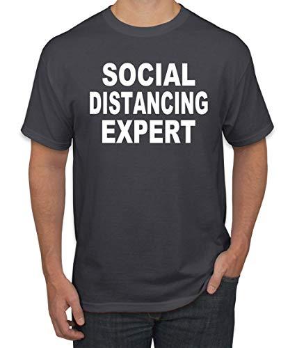 Social Distancing Expert Funny Quarantine Virus 2020 Pop Culture Graphic T-Shirt, Charcoal, X-Large