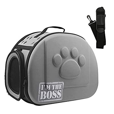 AriTan Pet Travel Carrier, Soft-Sided Collapsible Portable EVA Cat Bag with Mesh Windows, Porous Design, Best for Small or Medium Dog and Cat (Large, Grey)