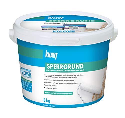 Knauf 89139 Sperrgrund, Spezialgrundierung, hochwirksame Fleckensperre gegen Verfärbungen aus dem Untergrund, gebrauchsfertig, Weiß, 5 kg
