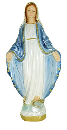 Ferrari & Arrighetti Estatua Virgen Milagrosa en Yeso Perlado Pintada a Mano - 33 cm