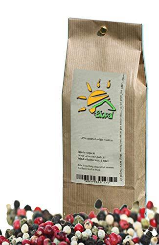 1 Kg Bunter Pfeffer ganz mit 6% Rosa Spitzenqualität aus 4 Sorten Pfeffer, Aromatischer Schwarzer, Weißer, Rosa und Grüner Pfeffer von Biopal®.