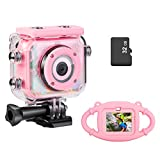 Waterproof Camera for Kids, Digital Rechargeable Action Camera for Kids 3-13 Years Old Girls Boys Christmas Birthday Gifts with 32GB TF Card and Anti-Fall Silicone Case (Pink)