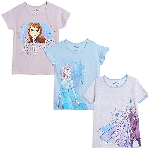 Disney Frozen Elsa Anna Toddler Girls 3 Pack T-Shirt Purple/Blue/White 3T