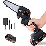 Mini Chainsaw 4-Inch Cordless Electric Protable Chain Saw with Rechargeable Battery One-Handed Portable Pruning Shears Chainsaw for Tree Branch Wood Cutting(1.54lbs UK Plug) (Black)