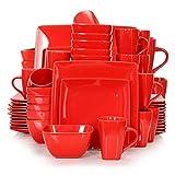 DAGONGREN Conjunto de vajilla Cuadrado de Porcelana de cerámica roja de...