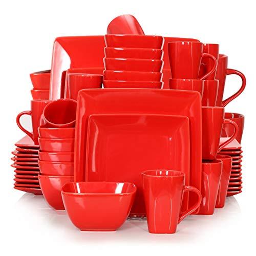 DAGONGREN Conjunto de vajilla Cuadrado de Porcelana de cerámica roja de 16/32/48/48 Piezas con Placa de Cena, Placa de Postre, tazón, Conjunto de Taza de 240 ml (Color : 48-Piece Set)