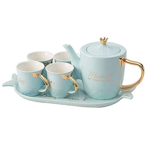 XiYou Juego de té Taza de café Europea Tetera Pintada con Sirena Juego de té Bandeja de Porcelana de Hueso de cerámica Europea Fiesta del té de la Tarde, Regalo