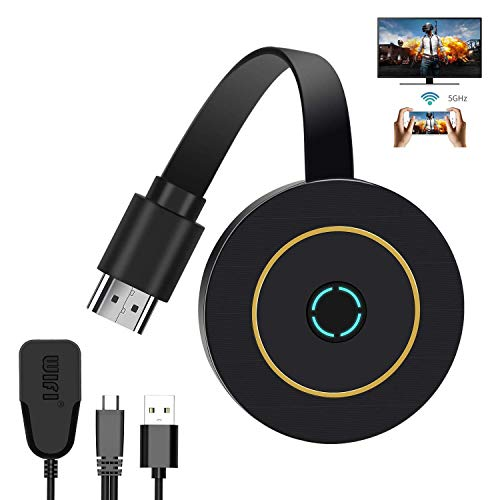 Wireless Display Dongle, 4K WiFi Portable Display Receiver 1080P HDMI Screen Mirroring Compatible with iPhone Mac iOS Android to TV Projector Support Miracast Airplay DLNA No Switching (5G+2.4G)