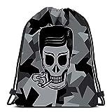 Kkyoxdiy Backpack Drawstring Bag Smoker Skull