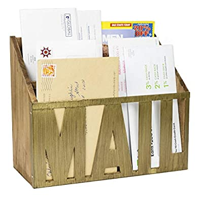 Wooden Mail Organizer Letter Card Holder Rustic Metal Cutout Letters Floating Bill Storage Office Desktop Sorter 3 Slots Wall Mounted Home Decor