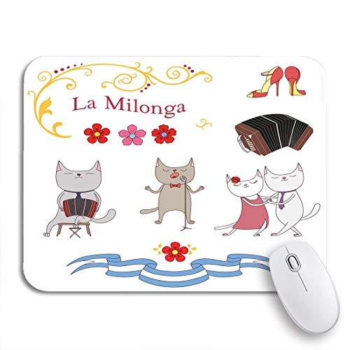 Gaming Mouse Pad Argentijnse Tango Katten Dansen en Zingen Spelen Bandoneon Schoenen Antislip Rubber Backing Computer Mousepad voor Notebooks Muismatten