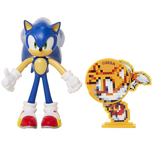 Sonic The Hedgehog Collectible Sonic 4' Bendable Flexible Action Figure with Bendable Limbs & Spinable Friend Disk Accessory Perfect for Kids & Collectors Alike! for Ages 3+
