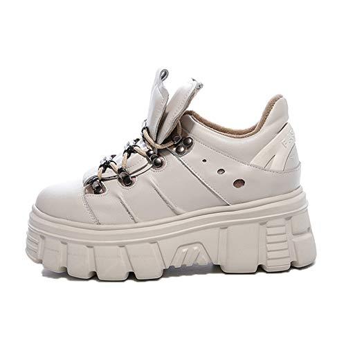 Zapatos Casuales para Mujer, Zapatillas de Deporte de Estilo Universitario con Cordones de Fondo Suave, Zapatos de Plataforma Gruesos para Primavera y otoño