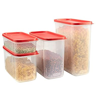 Rubbermaid Modular Canisters, Food Storage Container, BPA-free, 8-piece Set, Red (1776474)