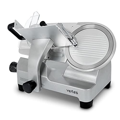 vertes Allesschneider Aufschnittmaschine Schneidemaschine Küche Elektrisch mit 250mm Messer Durchmesser (250W, Schnittstärke 0,2 bis 25mm, eloxiertes Aluminium, Gummifüße, inkl. Schleif-, Schärfstein)