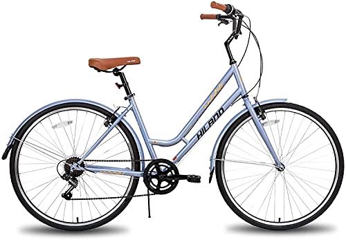 Hiland Bicicleta híbrida 700C urbana, bicicleta de ciudad con Shimano de 7 velocidades, cómoda, retro, 46 cm, gris para mujeres