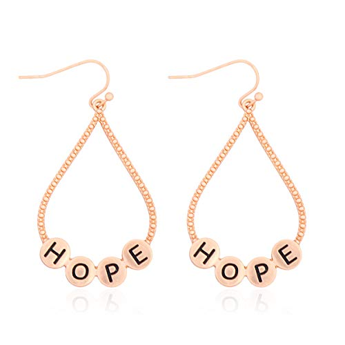 Inspirational Message Letter Earrings - Boho Positive Vibe Stamped Word Religious Blessed, Love, Faith, Mama Hoops, Studs (Teardrop Hoop Bubble - Hope)