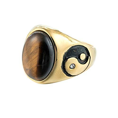 Ubestlove Wedding Band Vintage Gemstone Seal Yin and Yang Ring Rings Ladies Finger Rings Fashion Ring Gold Brown V 1/2