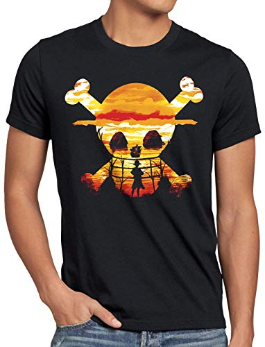 style3 Pirate Sunset Camiseta para Hombre T-Shirt One Anime Piece japonés, Talla:L