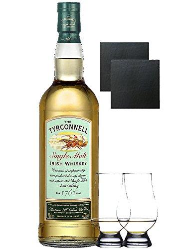 The Tyrconnell Irish Single Malt Whiskey 0,7 Liter + 2 Glencairn Gläser + 2 Schieferglasuntersetzer 9,5cm