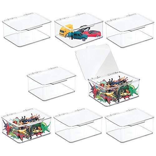 mDesign Juego de 8 organizadores de Juguetes con Tapa – Juguetero apilable de plástico Robusto – Caja de almacenaje para Guardar Juguetes y Manualidades en la habitación Infantil – Transparente