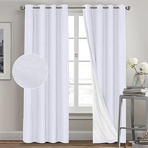 Primitive Textured Linen 100% Blackout Curtains for Bedroom/Living Room Energy Saving Window Treatment Curtain Drapes, Burlap Fabric with White Thermal Insulated Liner (52 x 84 Inch, White)