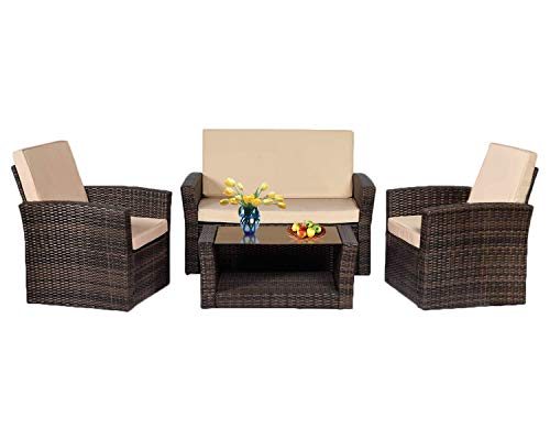 Patio Sofa Set 4pcs Outdoor Furniture Set PE Rattan Wicker Cushion Outdoor Garden Sofa Furniture with Coffee Table Bistro Sets for Yard