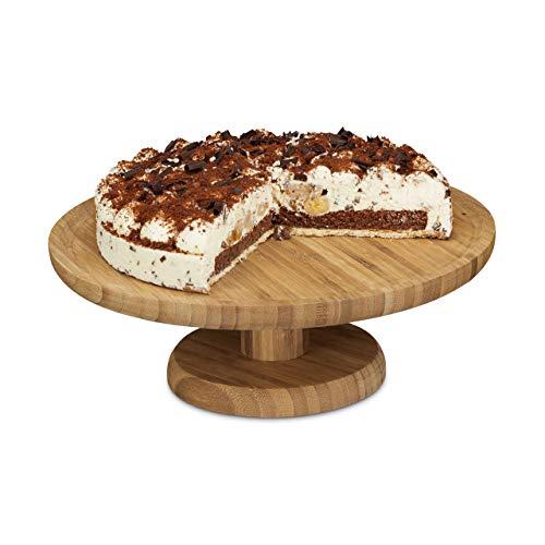 Relaxdays 10020545 Assiette à gâteau sur pied 33 cm bambou assiette à tarte plat de service rond H x D: 11,5 x 33 cm, nature