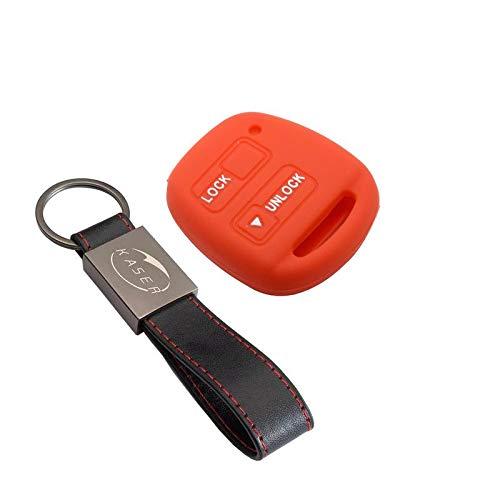 Funda Silicona para Llave Toyota – Carcasa Llaveros 2 Botones para Coche Auris Aygo RAV4 Yaris Vios Cover Case Protección Remoto Mando Auto (Rojo)
