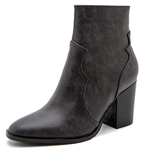 Zoducaran Mujer Botines Stacked Alto Tacón Ancho Clásico Western Booties Cremallera Cosplay Shoes Animal...