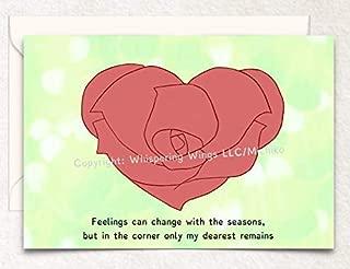 Rose Heart Love, Valentine's Day, Anniversary, Hand Drawn Original Poetry Greeting Card
