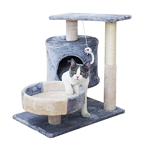 Poste y árbol rascador para gatos, árbol de actividades para gatos pequeños con postes rascadores y hamaca para percha con plataforma y bola de felpa Muebles para gatos hechos para gatitos y gatos p