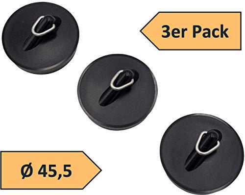 3er Set Abflussstopfen Abflußstöpsel Ø 45,5 mm mit Haken Waschbeckenstopfen Ventilstopfen aus PVC Farbe schwarz universell einsetzbar für Wanne Ausgüssen und Spülen