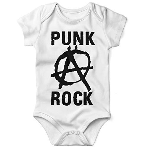 Mikalino Babybody mit Spruch für Jungen Mädchen Unisex Kurzarm Punk Rock Anarchy | handbedruckt in Deutschland | Handmade with Love, Grösse:62, Farbe:Weiss
