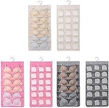 CHOUREN 24 Pockets Mesh Hanging Bag Socks Bra Underwear Hanger Storage Socks Organizer Double Sides,Variation:Beige