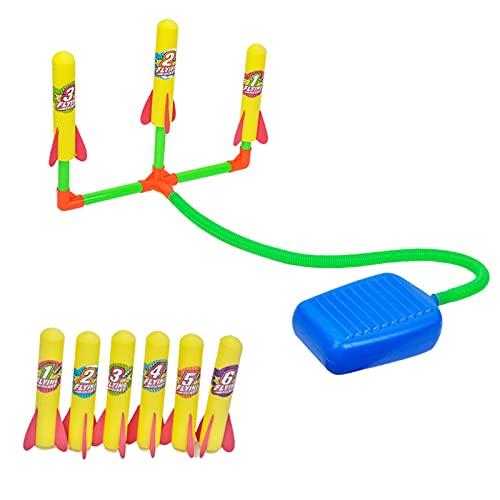 sharprepublic Stomp Schaum Rakete Spielzeug Rockets für Kinder Im Freien Spielen Spielzeug Garten Hof Spielzeug für Kinder - 3 in 1
