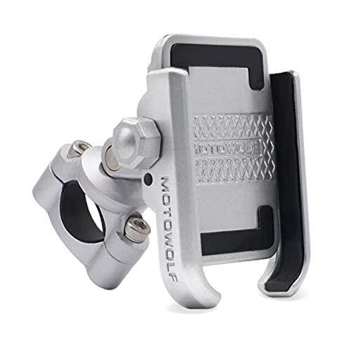 【アルミ製 耐久性】 ニコマク NikoMaku バイク スマホホルダー 原付 自転車 振動防止 防水 携帯ホルダー 固定力 オートバイ 360度回転 ハンドルに取り付け 4~6.6インチ携帯に対応 設置簡単 一年保証 シルバー
