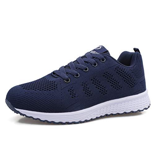Lanivic Damen Turnschuhe Laufschuhe Atmungsaktive Sportschuhe Tennisschuhe Athletisch Fitnessschuhe Sneakers Flach Dunkelblau EU 39