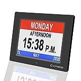 Exmate Digital Calendar Alarm Day Clock, 8' Day Clock Calendar Large Screen Display, with 13 Alarm Options Snooze Function for Elderly, Visual Impairment, Dementia, Memory Loss