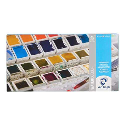 Van Gogh Watercolor Paint Set, Metal Tin, 48-Half Pan