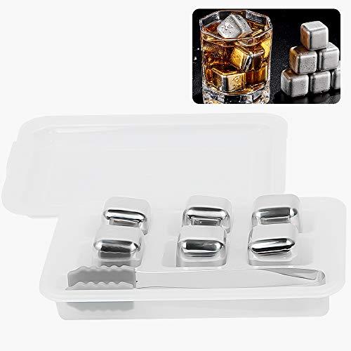 Cubitos de Hielo Acero Inoxidable, ZoneYan Piedra de Cubo de Hielo de Metal, Whisky Stones Acero Inoxidable, Stainless Steel Ice Cubes, Piedra de Hielo Acero Reutilizable, para Enfriar Bebidas