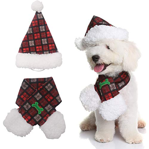 PUPTECK Dog Hat and Scarf Puppy Costumes Accessories