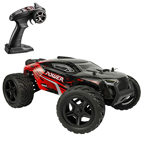Hosim All Terrain Waterproof Rc Cars 1:14 4WD Monster Truck, High Speed 36+ kmh 2.4Ghz Electric Remote Control Car , Off-Road RC Buggy RC Toys Trucks for Kids and Adults(Red)