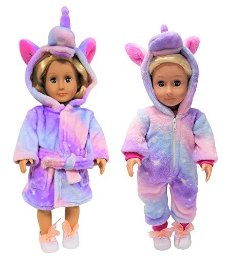 Unicorn Pajamas Onesie and Bathrobe for 18 inch Dolls (Rainbow Galaxy)