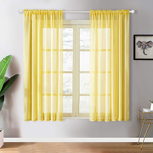 YOKISTG Faux Linen Sheer Curtains 63 Inch Length Rod Pocket Window Curtains for Bedroom Living Room, Yellow, 2 Panels